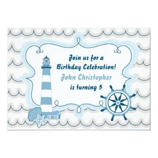 Blue Nautical Lighthouse Boys Birthday Invitation