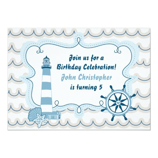 Blue Nautical Lighthouse Boys Birthday Invitation