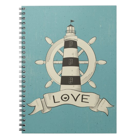 Blue Nautical Lighthouse & Ship Wheel Love Notebooks