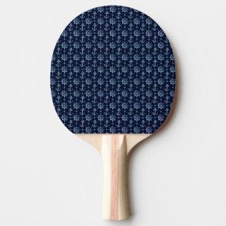 Blue Nautical Pattern Ping Pong Paddle