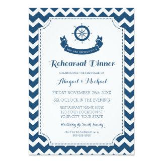 Blue Nautical Rehearsal Dinner Party 13 Cm X 18 Cm Invitation Card