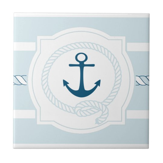 Blue nautical rope and anchor stripes ceramic tile