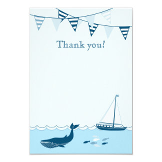 "Blue nautical sailboat baby boy shower thank you 3.5"" x 5"" invitation card"