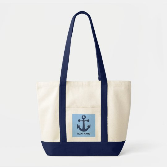 Blue Nautical Ship Anchor Custom Boat Name Tote