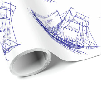 Blue nautical ship boat gift Wrapping Paper