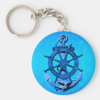 Blue Nautical Ships Wheel And Anchor Basic Round Button Key Ring