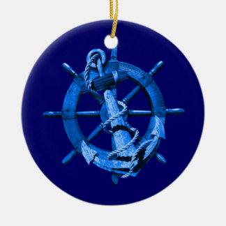 Blue Nautical Ships Wheel And Anchor Christmas Ornament