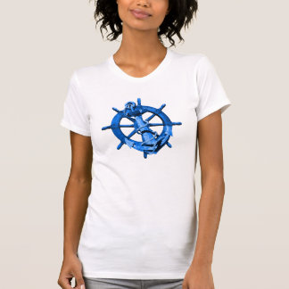 Blue Nautical Ships Wheel And Anchor T-Shirt