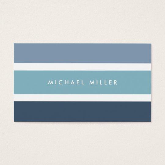 Blue nautical stripes modern smart masculine business card