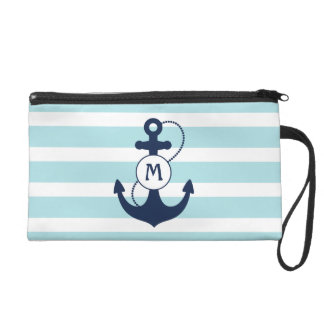 Blue Nautical Stripes with Anchor Monogram Wristlet