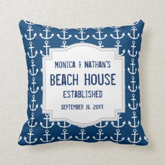 Blue Nautical Theme with Anchors A01 Cushion