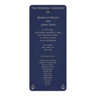 Blue Nautical Wedding Ceremony Programs Cards 10 Cm X 24 Cm Invitation Card