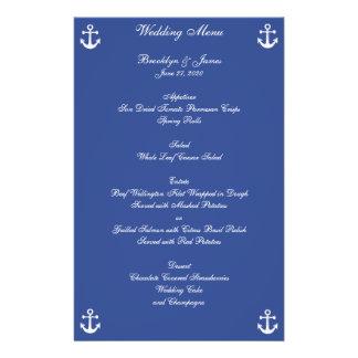 Blue Nautical Wedding Menu Custom Flyer