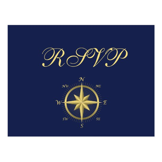 Blue Nautical Wedding RSVP Postcards