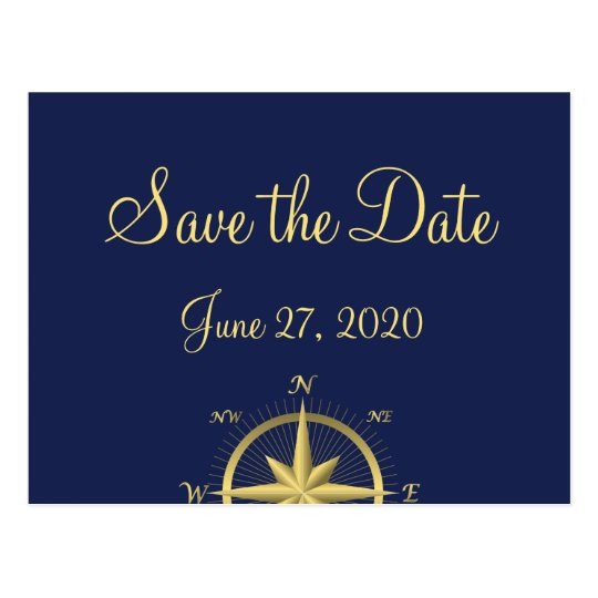Blue Nautical Wedding Save The Date Postcards