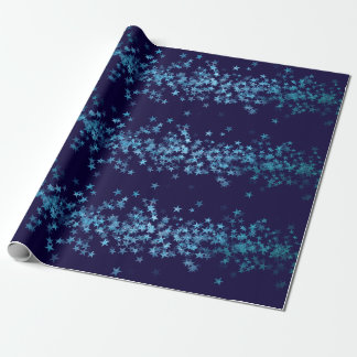 Blue Navy Aquatic Turquoise Stars Confetti Wrapping Paper