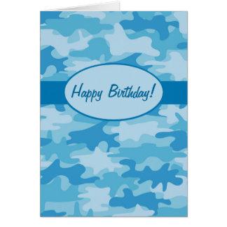 Blue Navy Camo Camouflage Happy Birthday Custom Card