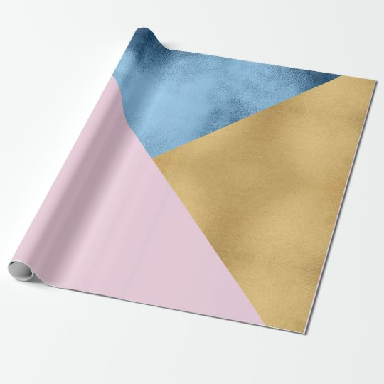 Blue Navy Glass Lilac Rose Gold Pastel Geometry Wrapping Paper