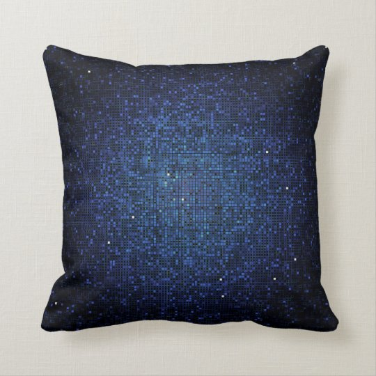 Blue Navy Glitter Sequin Disco Couch Throw Pillow