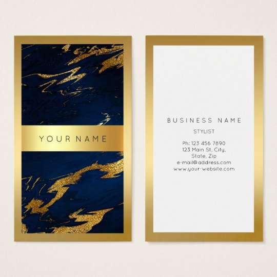 Blue Navy Golden Frame Marble Vip Vertical Business