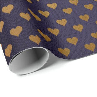 Blue Navy Golden Heart Confetti Nautical Yacht Wrapping Paper