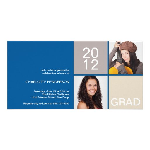 Blue navy modern block class of grad announcement photo card