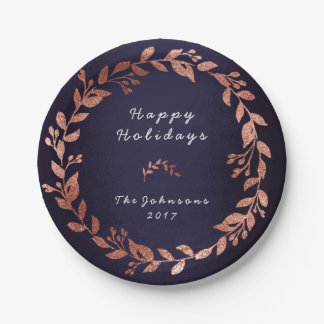 Blue Navy Pink Rose Gold Gray Christmas Paper Plate