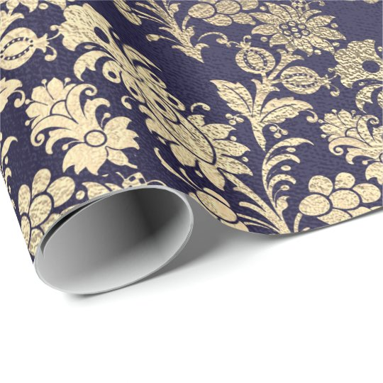 Blue Navy Royal Chic Foxier Gold Powder Floral