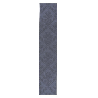 Blue Navy Rustic Damask Vintage Wallpaper Medium Table Runner