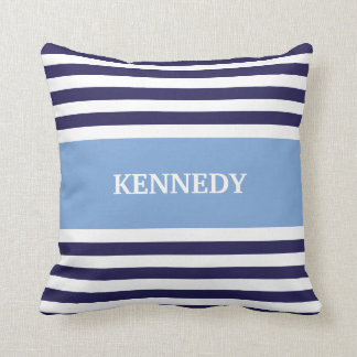 Blue & Navy Stripes & Monogram Cushion