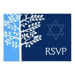 Blue Navy Tree of Life Bar Mitzvah RSVP 9 Cm X 13 Cm Invitation Card