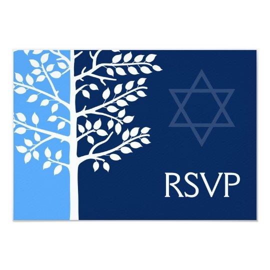 Blue Navy Tree of Life Bar Mitzvah RSVP