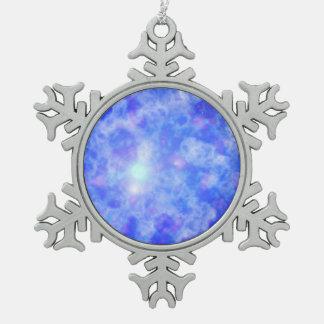 Blue Nebula Snowflake Pewter Christmas Ornament