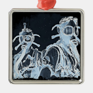 Blue Negative Image Gas Masks Ornament