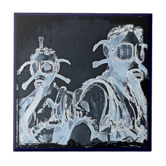 Blue Negative Image Gas Masks Tiles