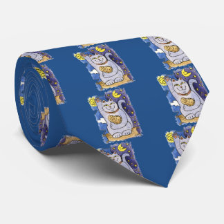 Blue Neko with Buddha on Gold Pillow Tie