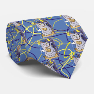 Blue Neko with Buddha on Gold Pillow Tie