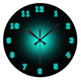 "Blue Neon 10.75"" Large Clock"