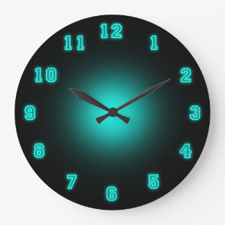 "Blue Neon 10.75"" Wall Clocks"