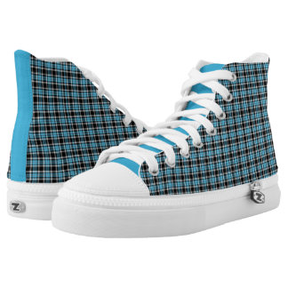 Blue Neon and Black Plaid High Top Sneakers