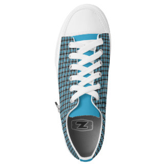 Blue Neon and Black Plaid Low Top Sneakers