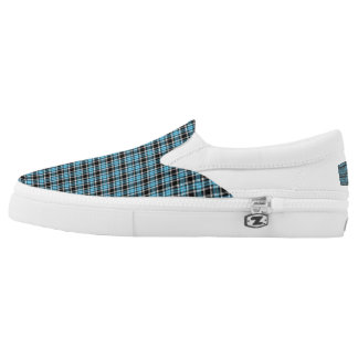 Blue Neon and Black Plaid Slip On Sneakers