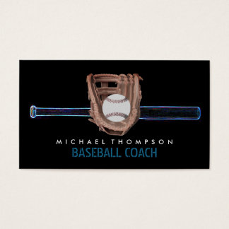Blue Neon Baseball Bat, Ball and Glove, Baseball Business Card