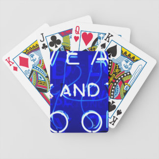Blue Neon Bicycle Playing Cards