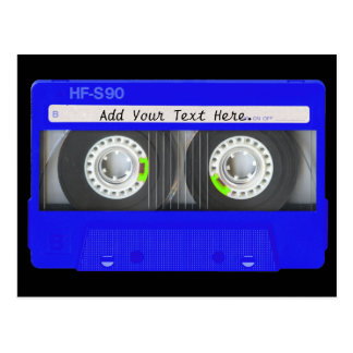Blue Neon Cassette Tape Postcard