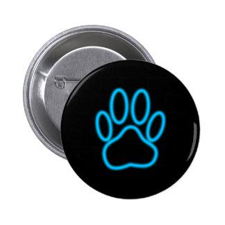 Blue Neon Dog Paw Print Button