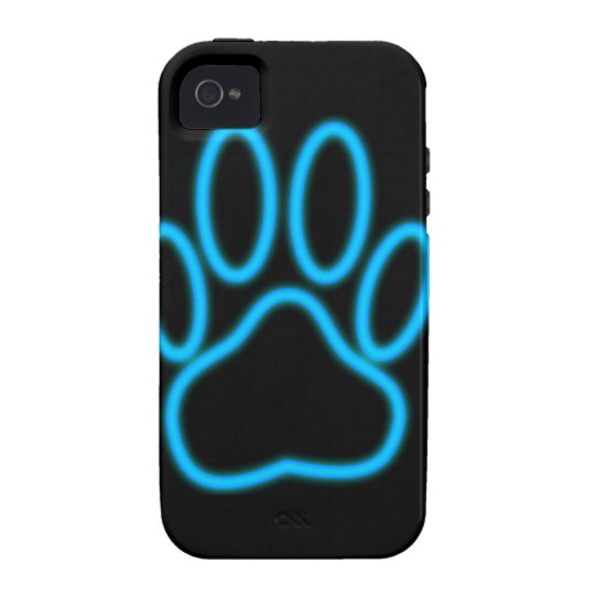 Blue Neon Dog Paw Print iPhone 4/4S Cases