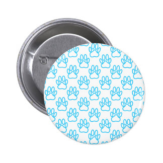 Blue Neon Dog Paw Print Pattern 6 Cm Round Badge