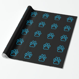 Blue Neon Dog Paw Print Wrapping Paper