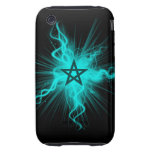 Blue Neon Glowing Pentagram - Pagan Symbol